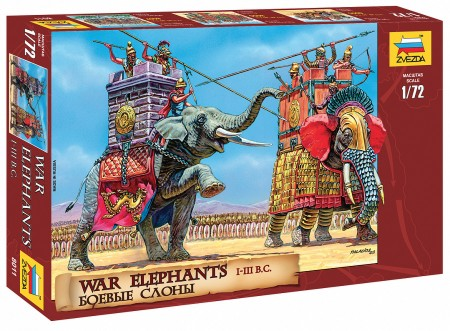 Zvezda 1/72 War Elephants III-I BC (2 & 7 Figs)