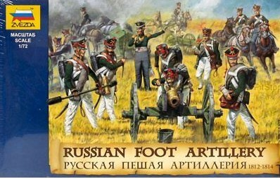 Image 0 of Zvezda 1/72 Russian Foot Artillery 1812-14 (20 w/6 Horses & 3 Cannons)