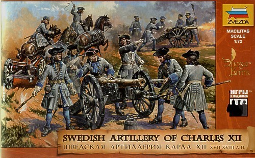 Image 0 of Zvezda 1/72 Swedish Artillery of Charles XIIc (35 w/6 Horses & 5 Cannons)